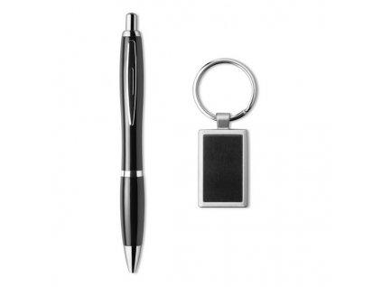 Guľôčkové pero (modrá náplň)a kľúčenka , Black