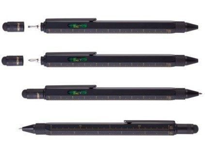 Multifunkčné guľôčkové pero (čierna náplň) , black/gold