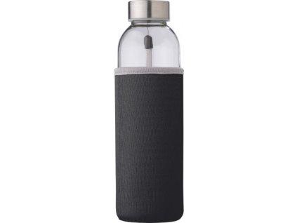 Sklenená fľaša (500 ml) s neoprénovým puzdrom , Black