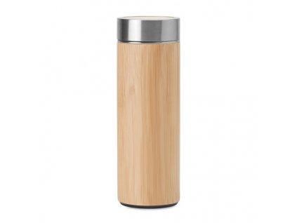 Dvojstenná nerezová fľaša (400 ml) , wood