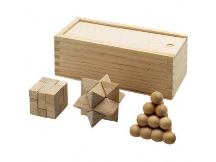 3-dielna sada drevených hlavolamov , natural