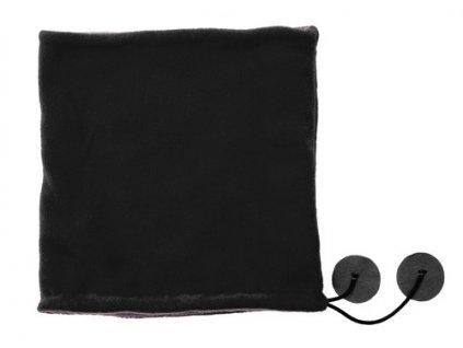 Polyesterový fleecový šál a čiapka v jednom , Black