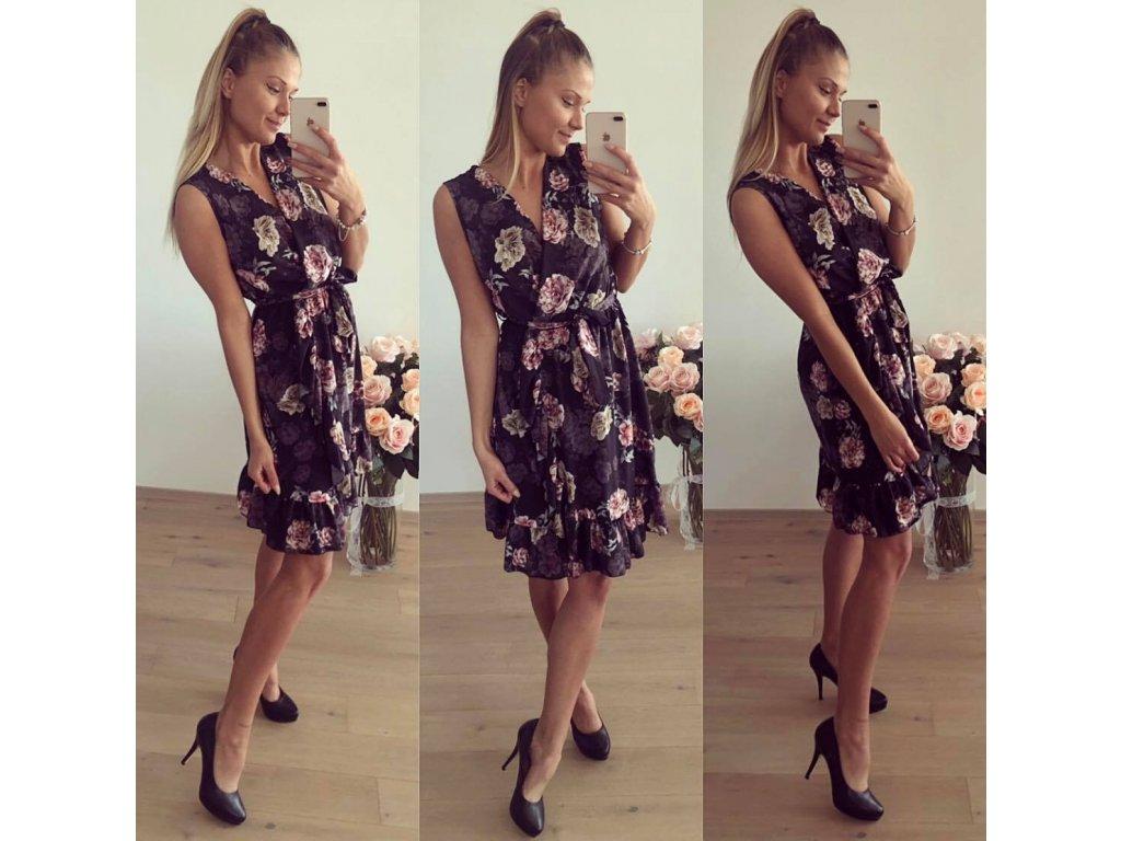 květované šaty s volány c