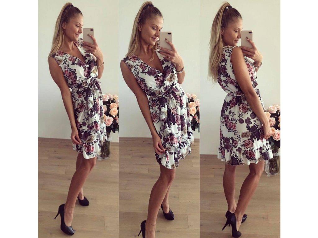 květované šaty s volány b