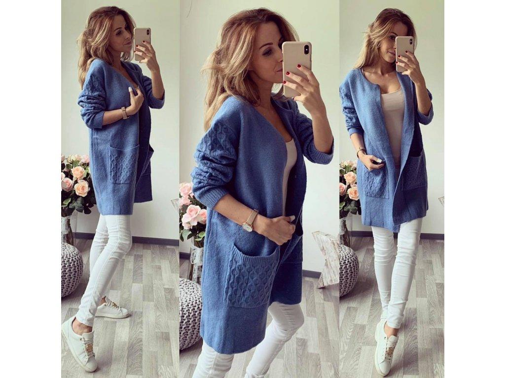 kabátek glazé modrá