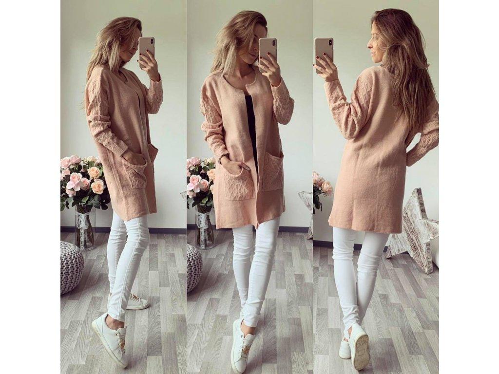 kabátek glazé světle růžová