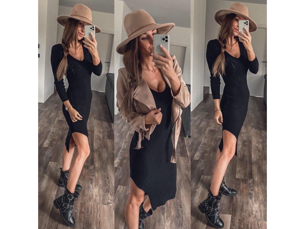 Luxusní svetrové šaty Ave černá