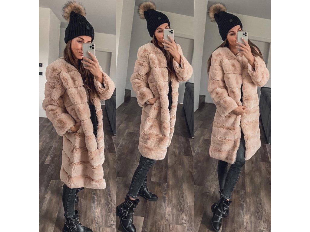 luxusní huňatý kabát Fau éžová