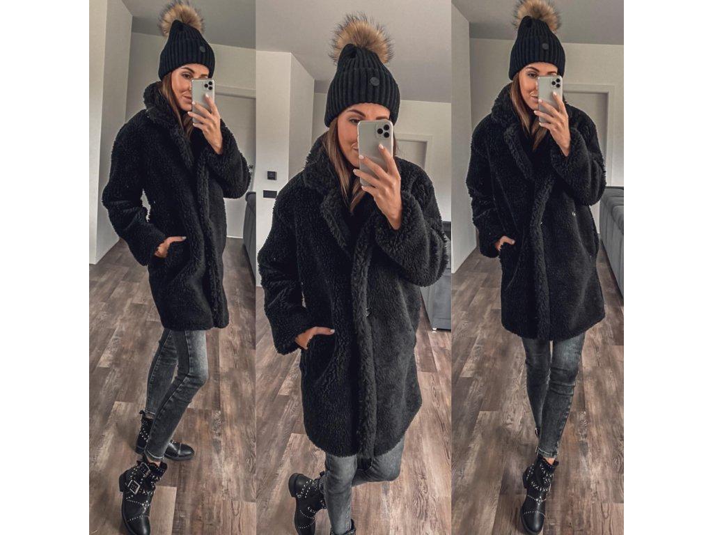 teddy kabátek černá