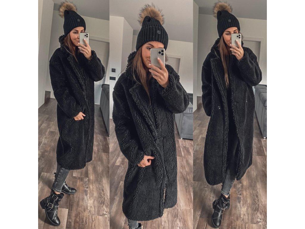 teddy kabátek long černá