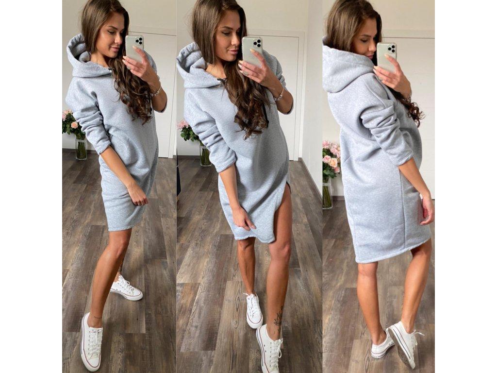 Luxusní tepl. šaty sv. šedá
