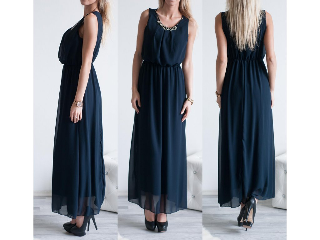 Šaty Elegant Long ST411 tmavě modrá