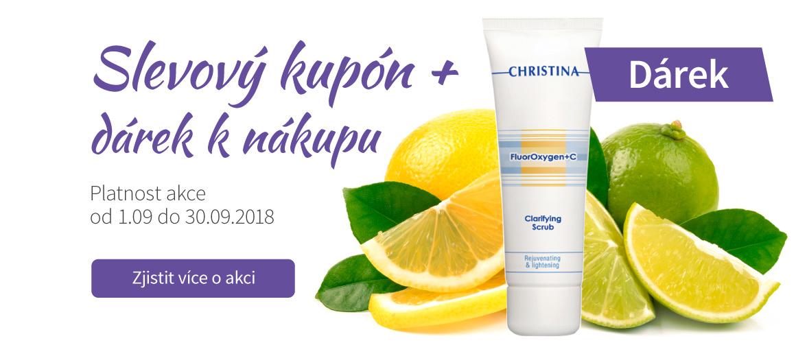 Akce na kosmetiku: scrub s vitamínem C dárek k nákupu, slevové kupóny na kosmetiku