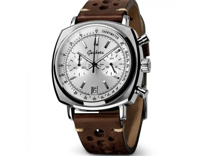 Geckota watch watch  C-01 SII Racing Chronograph Silver Leather