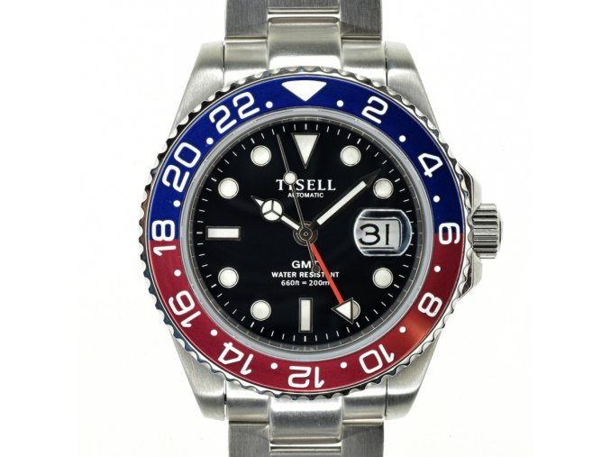 TISELL Automatic Diver Watch GMT Batman Red-Blue