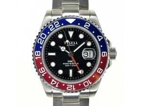 TISELL Automatic Diver Watch GMT Pepsi Red-Blue