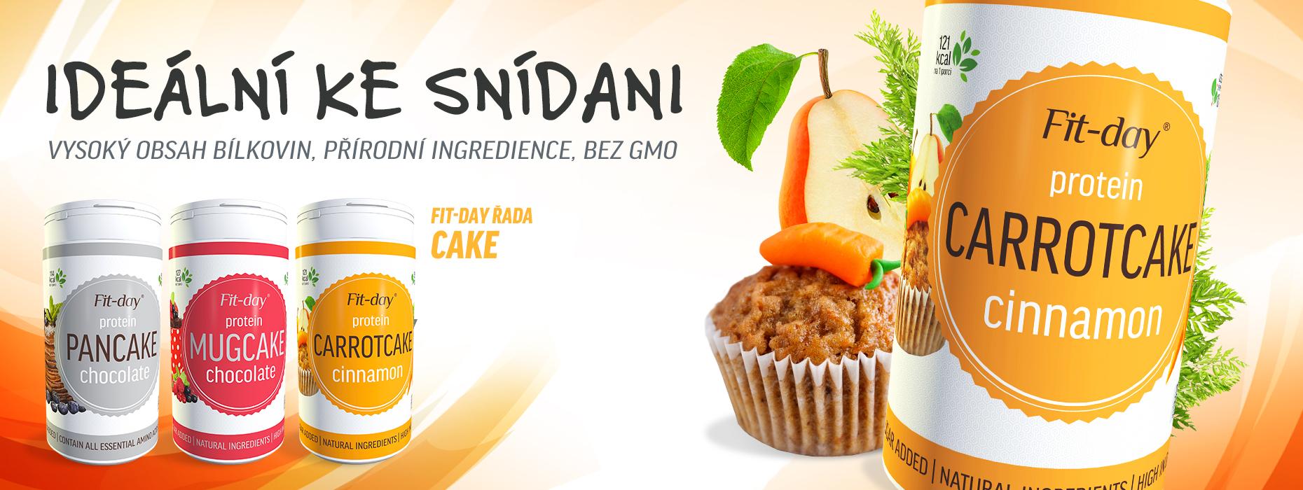 Fit day cake pečící mixy, mugcake, carrotcake, pancake protein