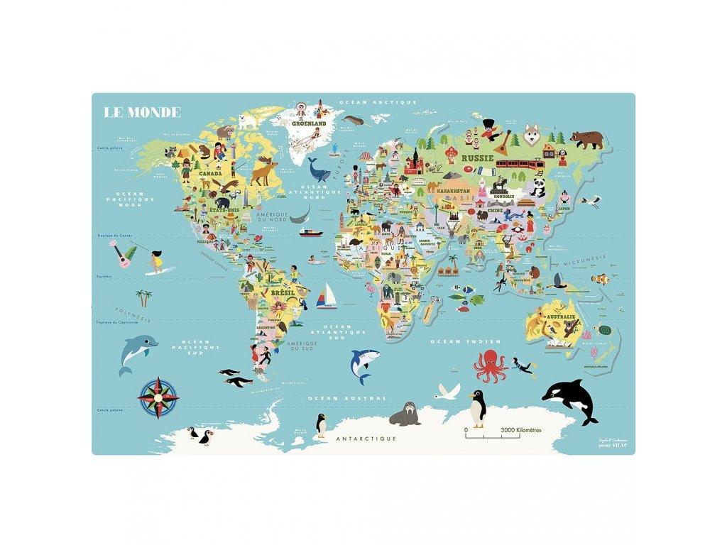 Magnetická nástěnná puzzle mapa světa