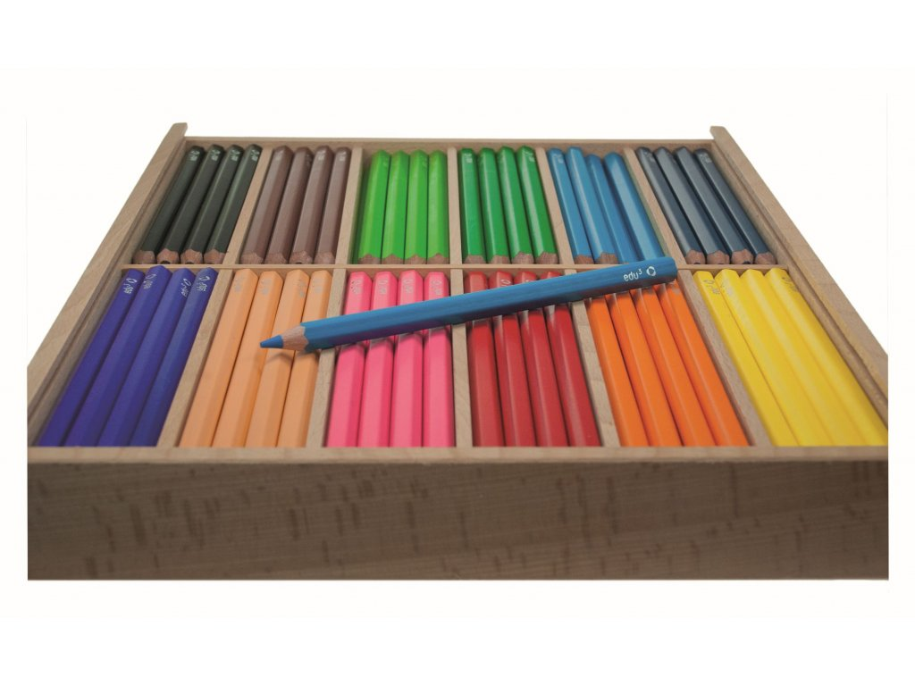 10415 jumbo set barevnych sirokych pastelek pro skolky dreveny box 144 pastelek ve 12 barvach tuha 5 mm