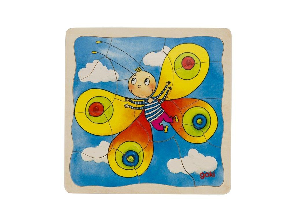 Housenka - 4 vrstvé puzzle, 20 x 20 x 1,5 cm, 44 dílů