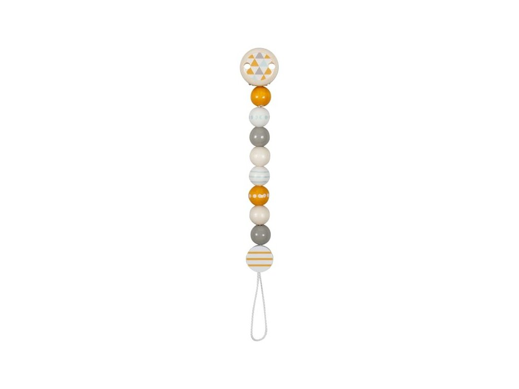 Dřevěný korálkový držáček na dudlík Heimess Trendline - žlutý