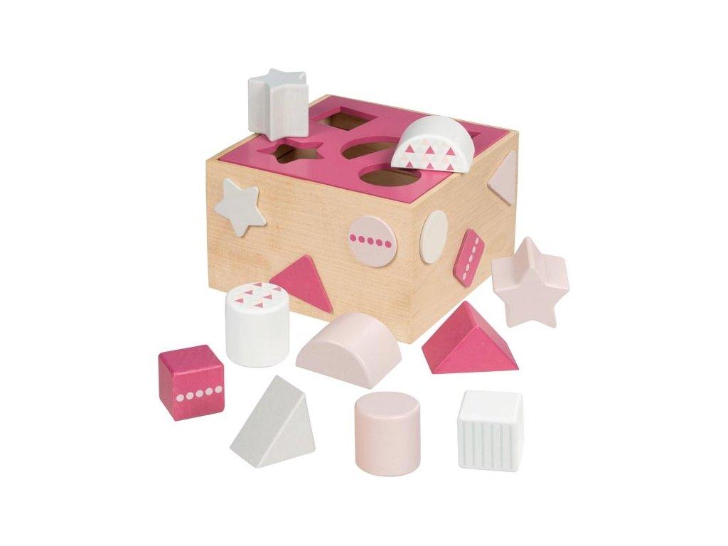 Třídící dřevěný box na tvary Goki - růžový