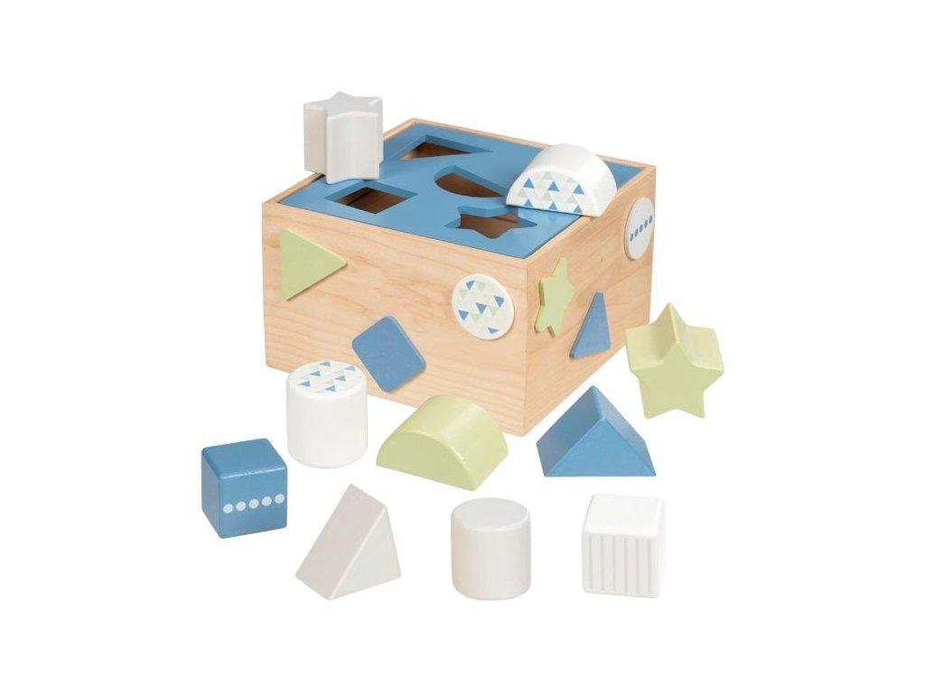 Třídící dřevěný box na tvary Goki - modrý