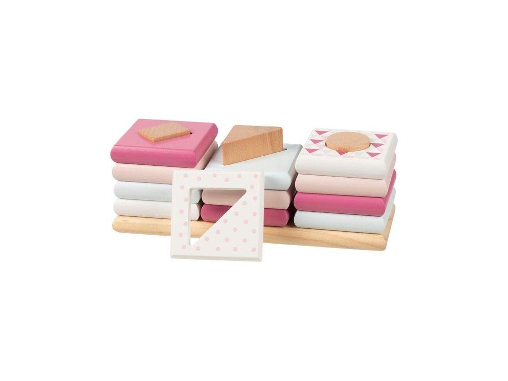 Dřevěné třídící věže - barvy a tvary GOKI - růžové