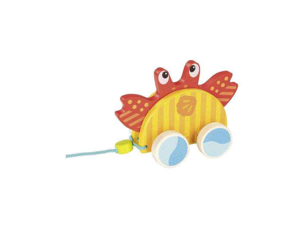 Dřevěný tahací krab na šňůrce