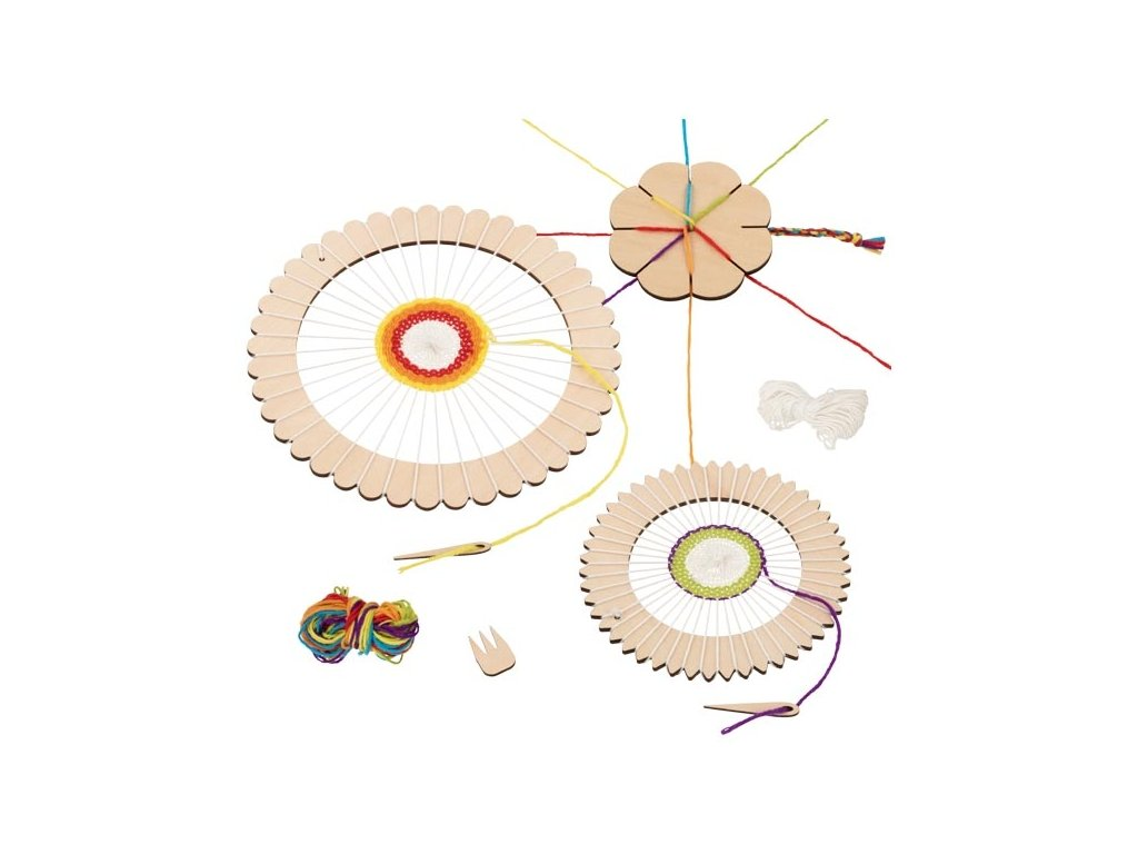 Pletací set - kulatý rám na mandaly a pletací květinka na náramky