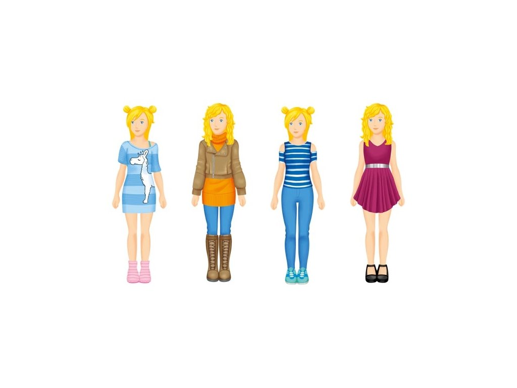 Papírová oblékací panenka - 30 outfitů