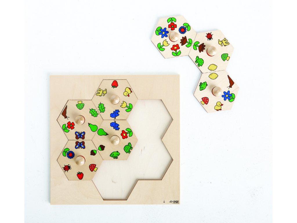 Dřevěné vkládací puzzle s motivy přírody Rolf Nature