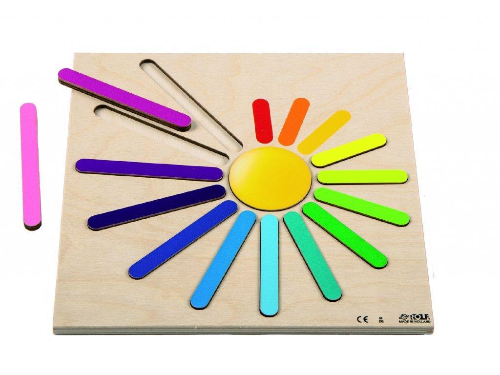 Dřevěné vkládací puzzle v barvách duhy Rolf Rainbow Rays
