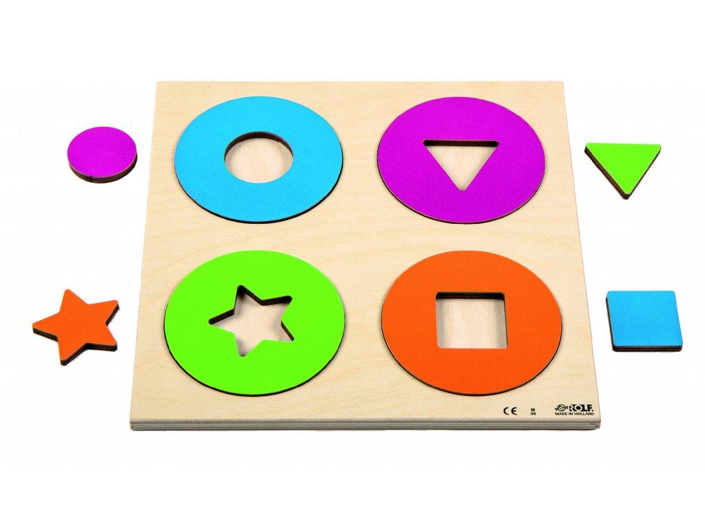 Dřevěné vkládací puzzle kruhy a tvary Rolf Circles and shapes