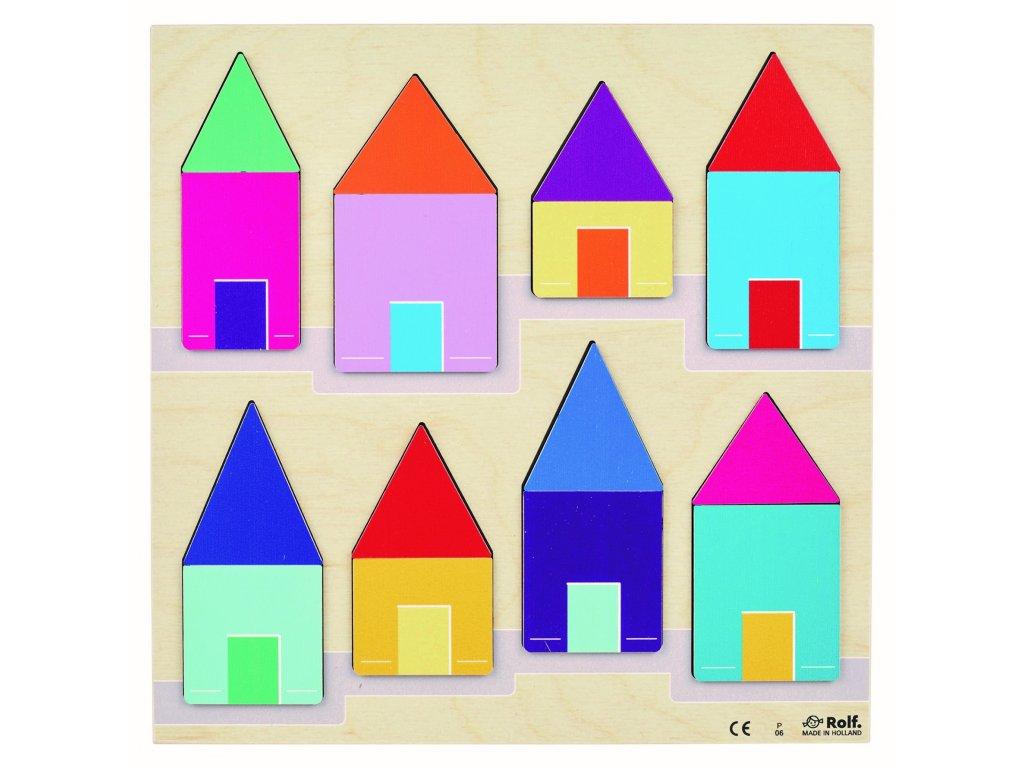 Dřevěné vkládací puzzle Domečky a střechy Rolf