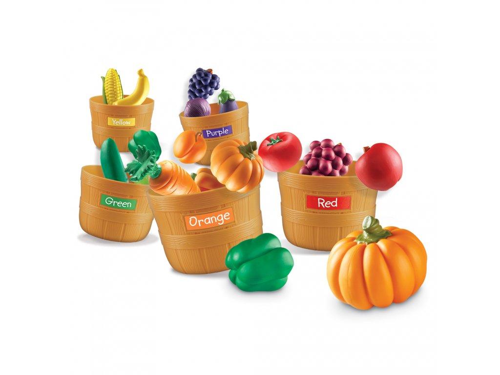 Velký farmářský třídící set - barvy, počty a poznávání ovoce a zeleniny - 5 košíků a 25 ks