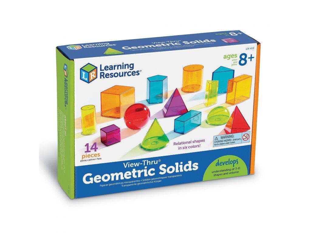 Set geometrických průhledných tvarů (14 kusů)