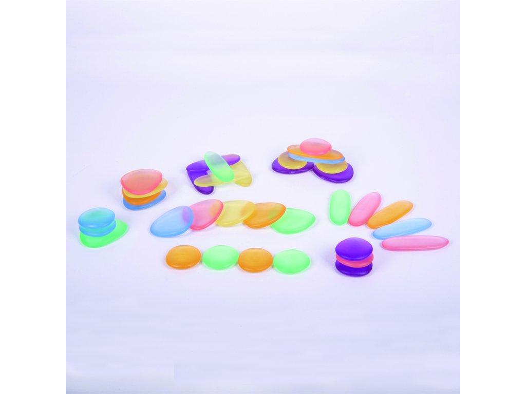 Průhledné oblázky Rainbow Pebbles na jemnou a hmatovou motoriku - 36 kusů
