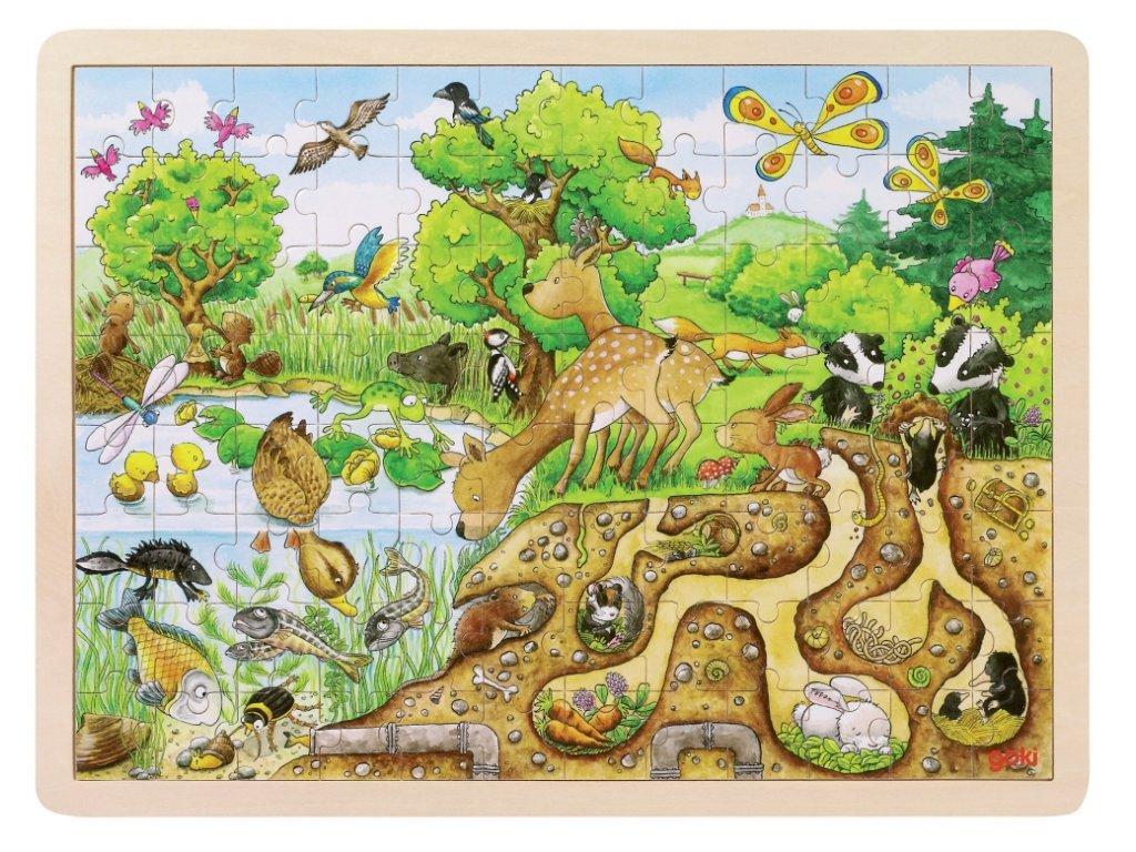 6286 zivot v prirode drevene puzzle s ramem 96ks 40 x 30 cm