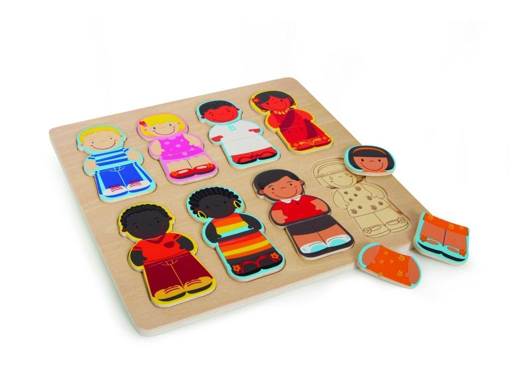 6328 etno deti drevene puzzle 28 x 28 cm