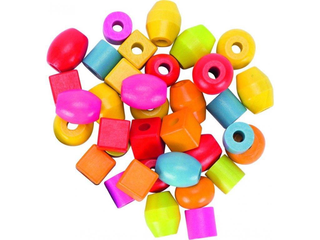 6508 set drevenych koralu 6 barevnych tkanicek