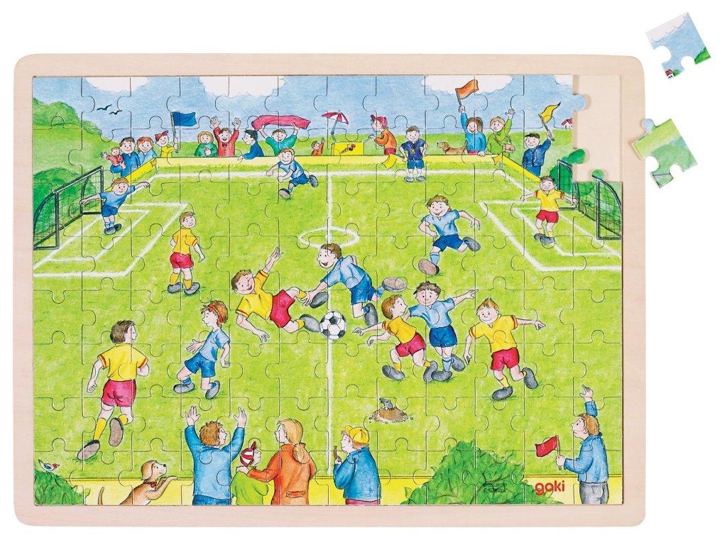 7264 fotbal drevene puzzle s ramem 96 dilku 40 x 30 cm