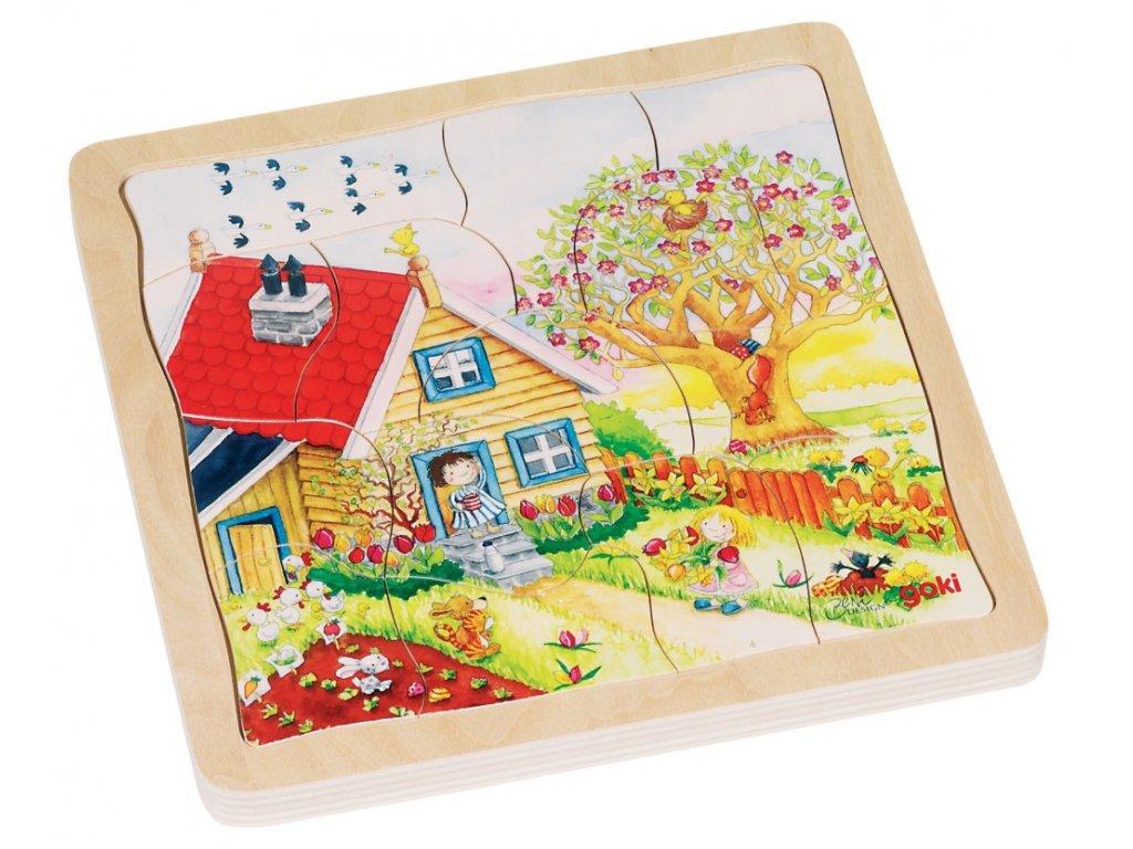 7291 rocni doby 4 vrstvy drevo puzzle 20 x 20 cm