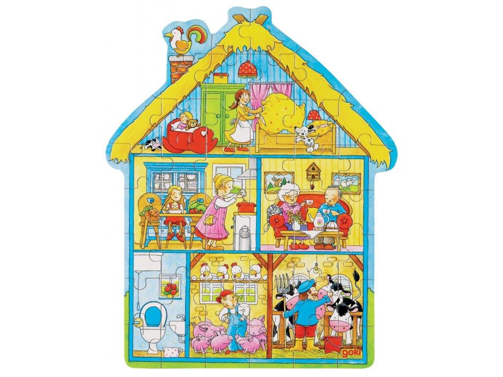 7303 venkovsky dum drevene puzzle v krabicce 43 dilku 37 x 30 cm