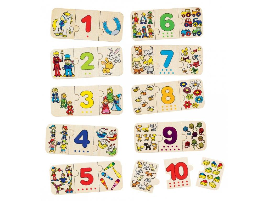 Puzzle s čísly - logické vazby - matematika - 30 kusů