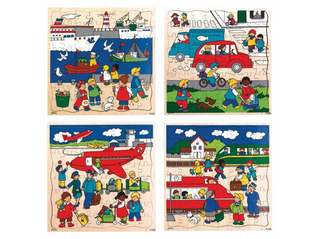 Dřevěné puzzle Transport
