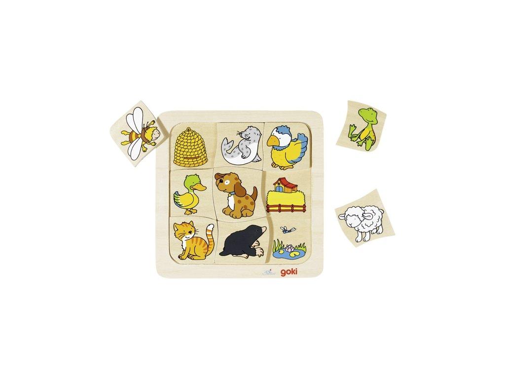 Kde žijí zvířátka II.? - puzzle 9 dílků - 18 x 18 cm