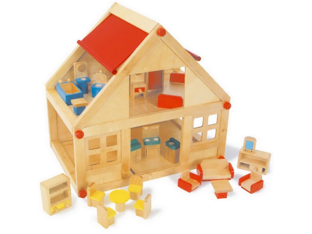 Obytný dům s nábytkem - dřevo 26 x 40 x 38 cm