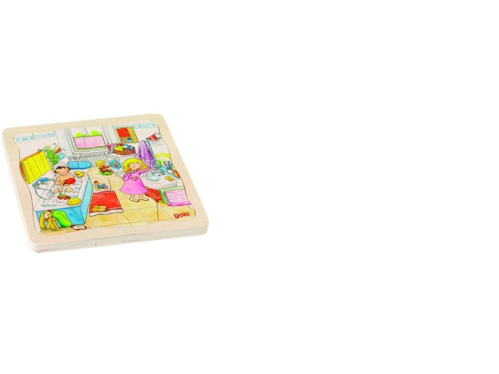 Můj den s rodinou - dřevěné puzzle 4 vrstvy, 20 x 20 cm, 46 dílků