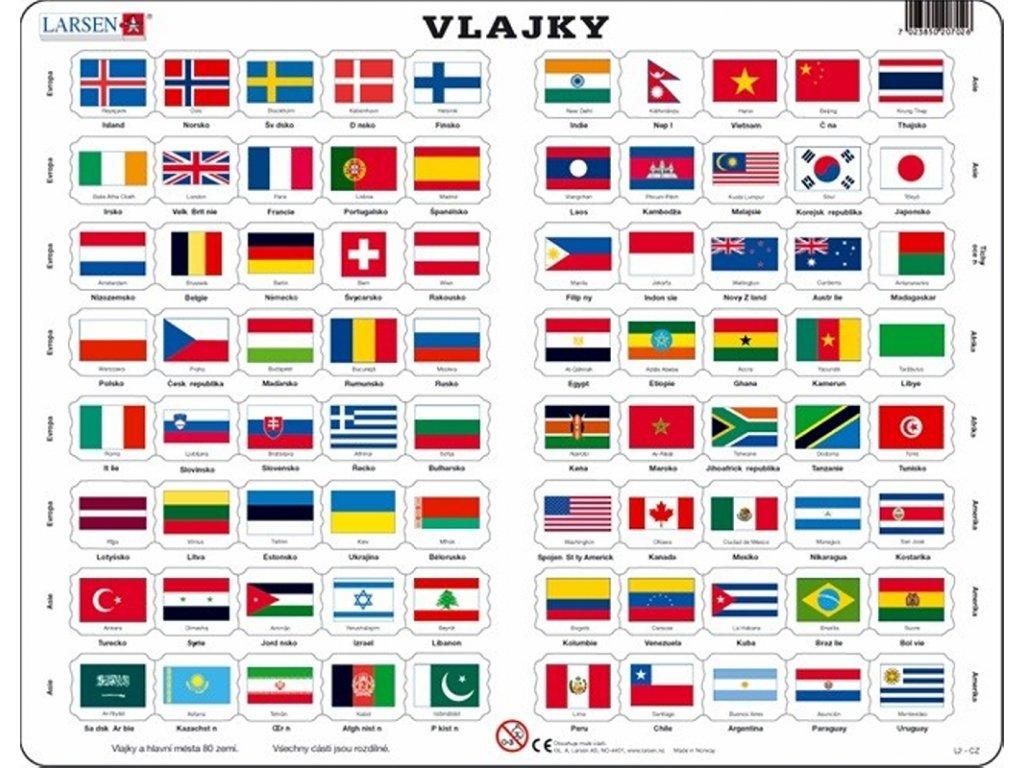 7750 vlajky evropy ameriky a asie puzzle 80 dilku